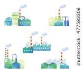 cut illustration of factories   Shutterstock . vector #477583306