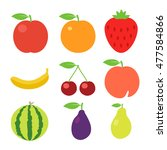 fruits icons. fruits icons art. ... | Shutterstock . vector #477584866