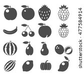 fruits icons. fruits icons art... | Shutterstock . vector #477584914