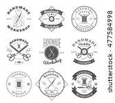 handmade workshop logo vintage  ... | Shutterstock . vector #477584998