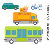 city transport set of colorful... | Shutterstock . vector #477585088