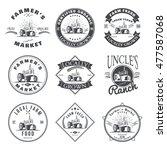 set of retro farm fresh labels  ...   Shutterstock . vector #477587068