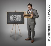 Small photo of Account manager text on blackboard with businessman