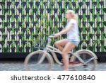 motion blure of woman riding... | Shutterstock . vector #477610840