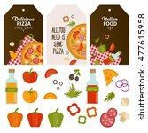 set of label with pizza and... | Shutterstock .eps vector #477615958