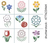 flower set icon vector... | Shutterstock .eps vector #477623464
