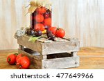 canned tomatoes and cherries in ... | Shutterstock . vector #477649966