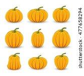 set pumpkins in different sizes ... | Shutterstock .eps vector #477658294