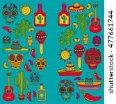 vector doodle icons mexican... | Shutterstock .eps vector #477661744