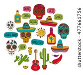 vector set of mexican icons... | Shutterstock .eps vector #477661756
