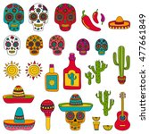 vector set of mexican icons... | Shutterstock .eps vector #477661849