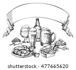 different glass mugs  bottle ... | Shutterstock .eps vector #477665620