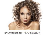 pretty girl with afro curly... | Shutterstock . vector #477686074