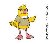 yellow bird with glasses... | Shutterstock .eps vector #477696658