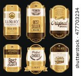 retro vintage golden frames and ... | Shutterstock .eps vector #477703234
