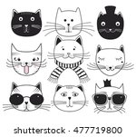 cute cat heads. set avatars... | Shutterstock .eps vector #477719800
