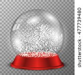 snow globe on red stand. vector ... | Shutterstock .eps vector #477739480