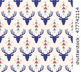 seamless pattern with deer head ... | Shutterstock .eps vector #477742114