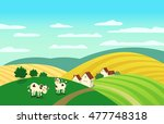 autumn landscape. cartoon farm
