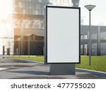 black advertising stand on a... | Shutterstock . vector #477755020