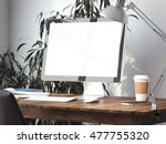 workspace with blank screen on... | Shutterstock . vector #477755320