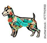 stylized skeleton jack russell... | Shutterstock .eps vector #477793900
