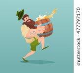 bearded man carry beer barrel... | Shutterstock .eps vector #477797170