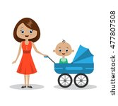 young beautiful mother with her ... | Shutterstock . vector #477807508