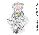 beautiful owl with crown.... | Shutterstock .eps vector #477820264