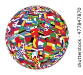 Globe With World Flags Isolate...