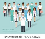 group of doctors and nurses and ... | Shutterstock .eps vector #477872623