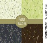seamless patterns with herbs.... | Shutterstock .eps vector #477884413