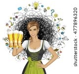 vector cute woman in drindl on... | Shutterstock .eps vector #477896320