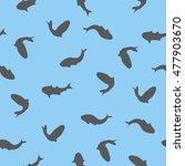 seamless silhouette fish... | Shutterstock .eps vector #477903670