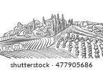 provence landscape apple plant ... | Shutterstock .eps vector #477905686