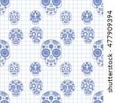 seamless pattern with ethnic... | Shutterstock .eps vector #477909394