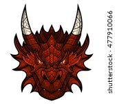 Dragon Head Mascot In Color...
