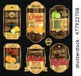 set of organic fruit retro... | Shutterstock .eps vector #477922708