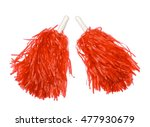 Red pom poms isolated on white