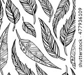 hand drawn doodle feathers... | Shutterstock .eps vector #477936109