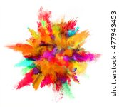 explosion of colored powder ... | Shutterstock . vector #477943453