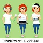 young girl in headphones. young ... | Shutterstock .eps vector #477948130