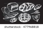 hand drawn set of bread and... | Shutterstock .eps vector #477968818