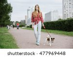 Stock photo pretty long hair girl walking her dog on a leash 477969448