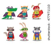superhero animal kids. cartoon... | Shutterstock .eps vector #477971110