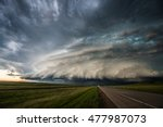 Supercell storm in South Dakota - stock photo