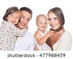 happy family of four on white | Shutterstock . vector #477988459