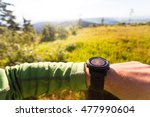 hiker or traveler on mountain... | Shutterstock . vector #477990604