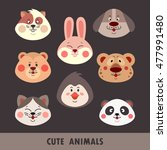 set of cute animal faces... | Shutterstock .eps vector #477991480