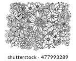Floral Doodle Pattern In Black...